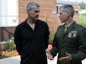"LtCol Mike Strobl on set with Kevin Bacon during the shooting of ""Taking Chance"""